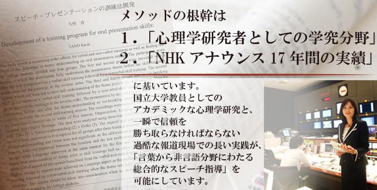 1.「心理学研究者としての学究分野」 2.「NHKアナウンス17年間の実績」に基いています。   国立大学教員としてのアカデミックな心理学研究と、 一瞬で信頼を勝ち取らなければならない過酷な報道現場での長い実践が、 「言葉から非言語分野にわたる総合的なスピーチ指導」を可能にしています。